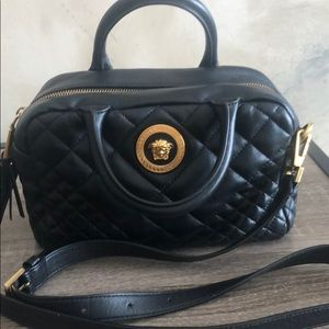 Authentic Versace Small Quilted Satchel Bag.